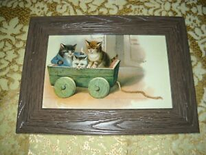 3 KITTENS IN WAGON 4 X 6 rustic look brown framed animal picture Victorian print