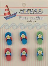 """Buttons Galore & More FUN IN THE SUN """" 6 - Flip Flops"""" 3D Hand - Dyed - FN100"""