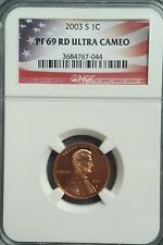 New listing 2003-S Ngc Us Mint Lincoln Memorial Cent Pf69 Rd Ucam Rare Flag Label