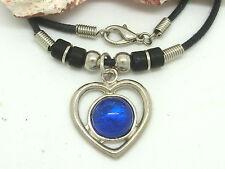 Corazón Collar Colgante con Azul Piedra Cadena Amor Amistad