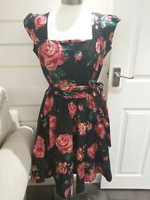 LADY VINTAGE BEAUTIFUL KNEE LENGTH BLACK & RED PATTERNED DRESS SIZE 16 BNWOTS