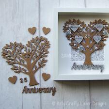 "MDF 25th Wedding Anniversary ""Silver"" Family Tree Craft Blank"