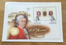 AUSTRIAN MOZART 1971 FIRST DAY COVER - STAMP SHEET AND COIN - 3 STAMPS - AUSTRIA
