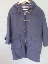 BURBERRY HOODED TOGGLE DUFFEL WOOL COAT JACKET SIZE LARGE NAVY BONE TOGGLES
