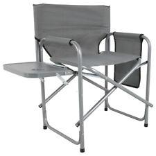 Campingstuhl Deluxe mit Ablage in grau klappbar Klappstuhl Anglerstuhl Faltstuhl