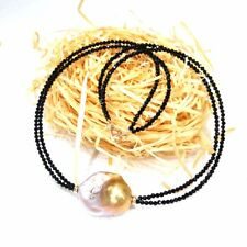 Natural Black Spinel Huge Real Baroque Big Pearl 925 Sterling Silver Necklace