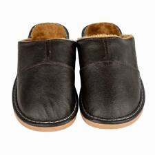 Home Slippers Men Cow Leather Close Toe Lining Fur Slip On Flats Bedroom SIZE 10