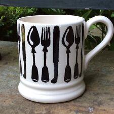 EMMA BRIDGEWATER Black Knives & Forks . 1/2 pint MUG . Spongeware