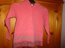 Girls coral pink long sleeve hooded top (hoodie), CAPTAIN TORTUE, 5 years, NEW