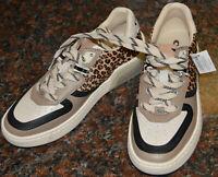 COACH Citysole Leopard Print Calf Hair & Leather Court Sneakers Size 6.5B