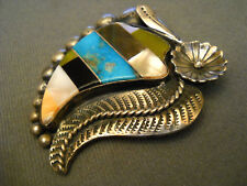 Inlay Sterling Silver Pendant Native American Indian Multi-Stone