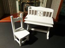 "DOLLHOUSE ""WHITE WOODEN DESK WITH MATCHING CHAIR"""