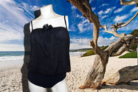 NWT PROFILE BY GOTTEX SHEER ILLUSIONS BLACK STRAPLESS SWIMSUIT BATHING SUIT SZ 8