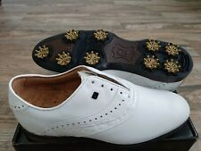New Footjoy Icon Black Golf Shoes White Gator Saddle 12W