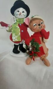 Annalee Dolls Snowman With Cardinal & Mouse