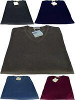 Maglione Uomo Scollo a V Made In Italy Cashmere Seta Sweater Men V Neck