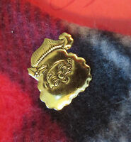 Santa Claus Pin Brooch 24 Karat Gold Plate Saint Nick Father Christmas Holiday
