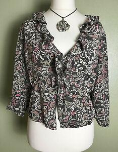 Adini Mushroom Summer Holiday Wedding Guest Party Silk Blouse Jacket Size L UK16