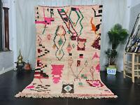 "Boujaad Handmade Moroccan Rug 5'4""x8'6"" Abstract White Pink Berber Wool Carpet"