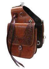Western London Tan Leather Hand Carved Saddle bag for Western Saddle
