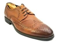 Asher Green Mens Wingtip Oxfords Dress Shoes Size 10 Genuine Leather Cognac