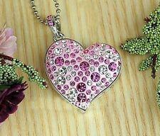 Clé USB bijou collier pendentif coeur swarovski élèments rose cadeau 8 GB cadeau