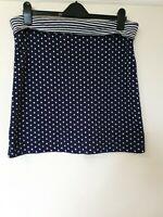 White Stuff Reversible Polka Dot Striped Stretchy Skirt Size 14