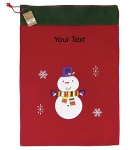 Christmas Deluxe Red Snowman Large Sack Personalised Big Gift Bag xmas