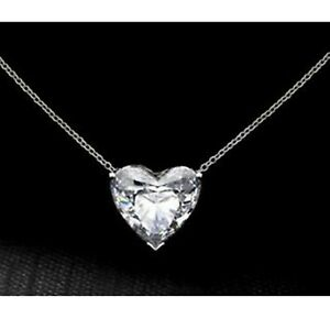 Cz White Heart Solitaire Beautiful Chain Necklace Wedding 925 Sterling Silver