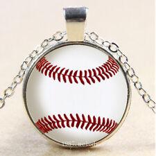 New Cabochon Glass Silver/Bronze/Black Pendant Necklace(Blank baseball Sticker