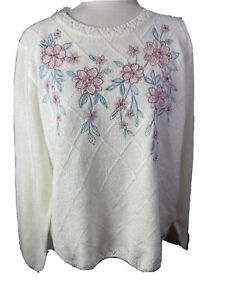 Alfred Dunner . NWT . top size L. ivory embroidered . long sleeve $68.00