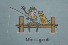 Medium blue 'Life is Good' fishing w/ dog shirt