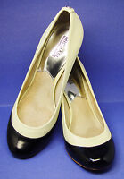 "MICHAEL KORS 10M IVORY/BLACK Genuine Leather 3.5"" pumps shoes good used cond."