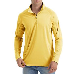 Men's UPF 50+ T-Shirt 1/4 Zip Up Sun Block UV Protection Outdoor Fishing Shirts