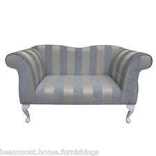 """49"""" Small Double Ended Chaise Longue Lounge Sofa Seat Blue Stripe Fabric UK"""