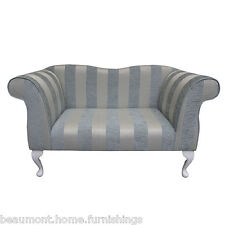Double Ended Chaise Longue Chair in aWoburn blue Stripe Chenille Fabric
