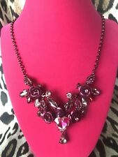 Colored Glass Pink Heart Jewel Necklace Betsey Johnson In Love Dark Pink Rose