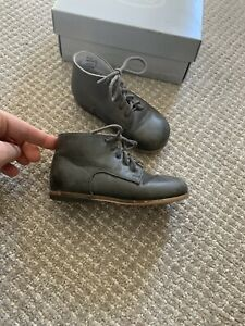 $84 Little Mary Girls Shoes 23 Gray Leather Lace Up Ankle Boots Oxfords Mabo