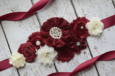 Ivory burgundy Sash, #3, flower Belt, maternity sash, wedding sash