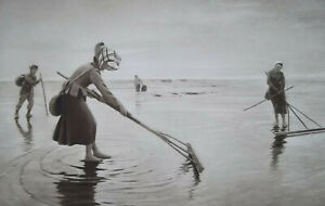 SHRIMP FISHING Women on Beach Low Tide - 1893 Photogravure Print after Hagborg
