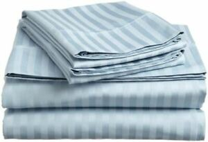 Luxury Bedding Items ,1000 Thread Count 100% Pima Cotton Light Blue Striped