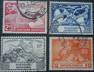 North Rhodesia 1949 UPU set SG 50/53 used