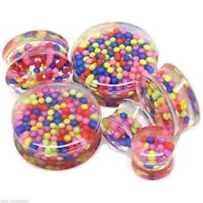 """PAIR-Candy Sprinkles Clear Acrylic Double Flare Plugs 14mm/9/16"""" Gauge Body Jew"""