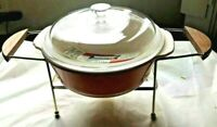 ANCHOR HOCKING Pyrex 2.5 qt CASSEROLE w LID Chafing Dish Wood Fire King NEW BOX