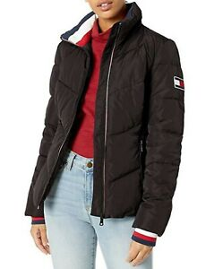 Tommy Hilfiger Women's Black Short Chevron Quilted Heritage Puffer Jacket $200