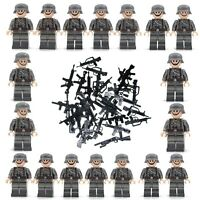 18pcs WWII Army Soldiers + 20 Random Weapons Mini Figures Military Set