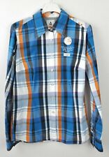 GAASTRA Women's M Button Up Cotton Shirt Plaid Tartan Blue Orange Casual Top Vtg