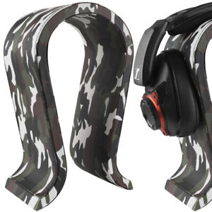 Geekria Leather Headphone Stand Universal Gaming Headset Holder (Camo)