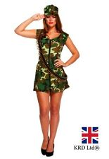 ADULT SEXY ARMY GIRL Fancy Dress Costume Hen Party Ladies Outfit Halloween UK