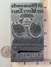 Vintage Lead On Wood Letterpress Print Block Diamond Rings New York Pb13